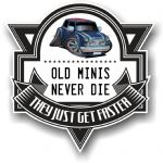 Koolart OLD MINIS NEVER DIE Motif For Classic Mini Cooper S Union Jack Vinyl Car Sticker 100x100mm